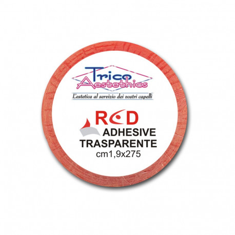 RED cm 1,9 x 300 - Biadesivo Rosso Trasparente