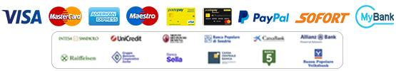 paga con Postepay, Visa, Mastercard, Amex, Carte Prepagate, Bonifico